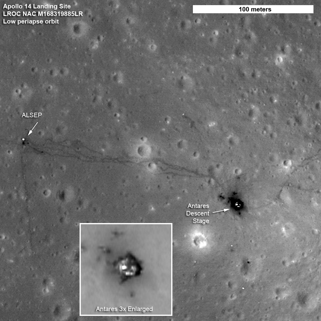 The paths left by astronauts Alan Shepard and Edgar Mitchell on both Apollo 14 moon walks are visible in this image. (At the end of the second moon walk, Shepard famously hit two golf balls.) The descent stage of the lunar module Antares is also visible. (Credit: NASA's Goddard Space Flight Center/ASU)