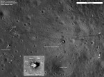 The Apollo 17 site gives an idea of the considerable mobility of Cernan and Smith. Note how the trails made by astronauts on foot can be distinguished from the dual tracks left by the lunar rover (Credits: NASA/Goddard/ASU).