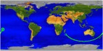Ground track for UARS, beginning in the Indian Ocean 3:30 GMT and ending at atmospheric interface over the Pacific Ocean at 4:00 GMT