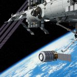 Artist conception of the Orbital's Cygnus spacecraft approaching the ISS (Credits: Orbital).