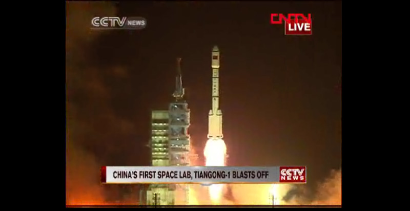 The launch of Tiangong-1 (Credits: CCTV).