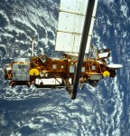 The Upper Atmosphere Research Satellite (UARS) during deployment from Space Shuttle Discovery in September 1991 (Credits: NASA Marshall Space Flight Center).