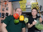 Cosmonaut Oleg Kotov and NASA astronaut Tracy Caldwell Dyson open a delivery of fresh fruit and vegetables on the International Space Station in May, 2010. (Credits: NASA).