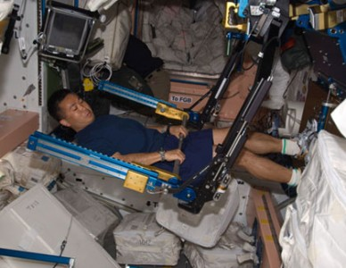 Flight Engineer Koichi Wakata starts to work out on the Advanced Resistive Exercise Device (ARED) in the Unity node aboard the ISS (Credits: NASA).