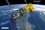 An artist's impression of a servicing  satellite refueling another satellite in Earth orbit (Credits: MacDonald Dettwiler Associates Corporation).