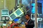 Iranian President Mahmoud Ahmadinejad speaks during the unveiling ceremony of new satellite rockets in Tehran in 2010 (Credits: Rohollah Vahdati/AFP/Getty Images).
