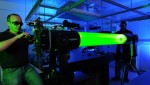 The powerful laser beam can detect space debris particles of only few centimeters in size (Credits: DLR).