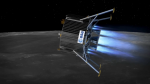 Rendition of ESA's lunar lander on approach from the south pole (Credits: ESA).