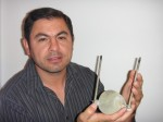 Dr. Gabriel Luna-Sandoval conducts research on urine-powered fuel cells (Credits: Gabriel Luna-Sandoval).