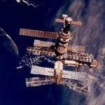 The Mir space station, pictured here above New Zealand in 1996, was the first to experience microbial corrosion (Credits: NASA).