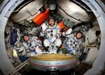 Shenzhou-7 crew Jing Haipeng, left, Zhai Zhigang, center, and Liu Boming (Credits: CMSE/AP).