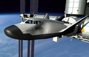 Rendition of SNC's Dream Chaser docked with ISS (Credits: SNC).