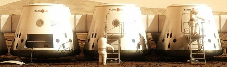 Vision of a Mars settlement composed of a series of four person crews (Credits: MarsOne).
