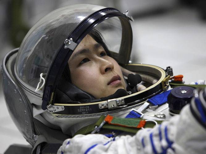 Liu Yang, China's first female astronaut, at training in Beijing in April, 2012. She is now slated to become the first female taikonaut (Credits: AP).
