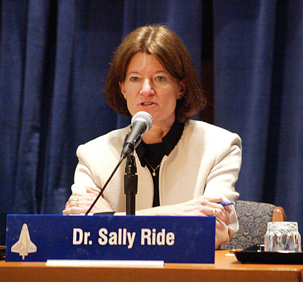 Sally Ride at the Columbia Accident Review Board, where she was known for asking tough questions. She blamed NASA personnel for forgetting the lessons from Challenger (Credits: Rick Stiles).