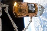 HTV-2 on the end of ISS' Canadarm 2 in 2011 (Credits: JAXA).