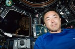 JAXA astronaut Aki Hoshide in the Cupola aboard ISS in July 2012 (Credits: NASA).