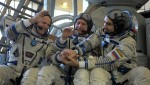 The remainder of ISS Expedition 33. From left, NASA Flight Engineer Kevin Ford, Soyuz Commander Oleg Novitskiy, and Russian Flight Engineer Evgeny Tarelkin (Credits: RIA Novosti/Grigoriy Sysoev).