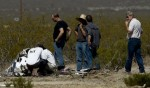 Masten personnel inspect the crashed Xaero at Mojave Air and Space Port (Credits: Los Angeles Times/Anne Cusack).
