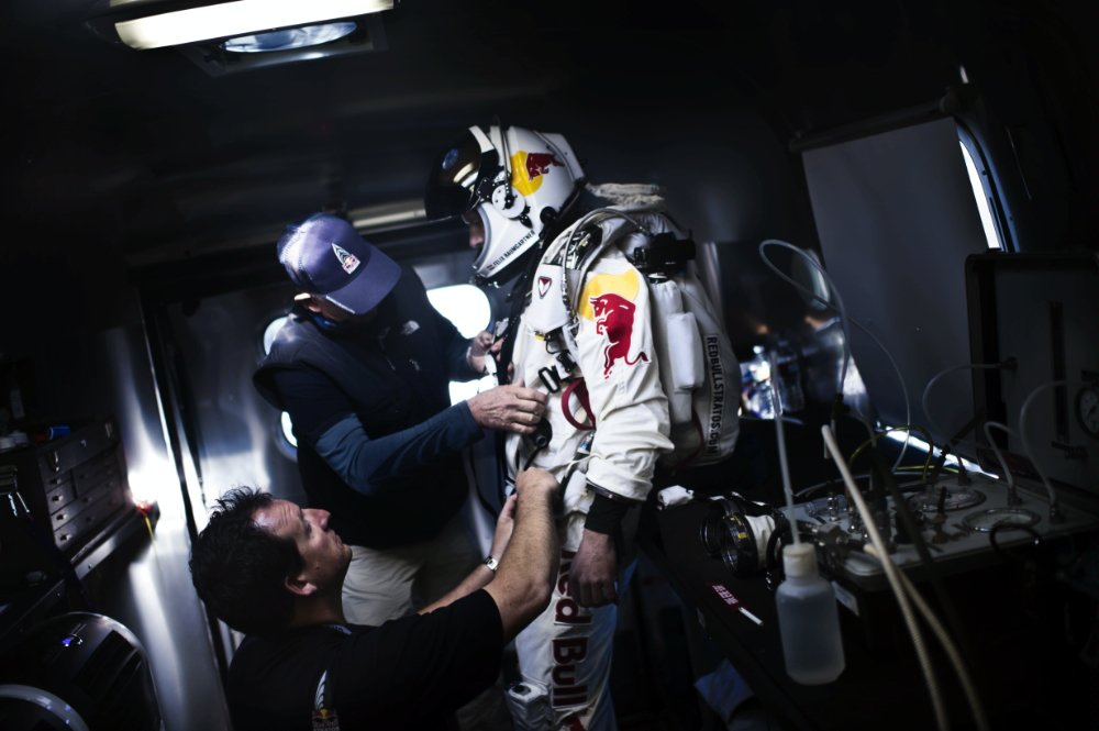 Baumgartner wears his specially designed spacesuit to be protected from the hazardous conditions of stratosphere.