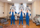 From left to right Soyuz Commander Oleg Novitskiy, Flight Engineer Evgeny Tarelkin and NASA Flight Engineer Kevin Ford at a spacesuit check on October 10 (Credits: NASA).