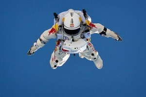 Leaping Into The Unknown BASE jumper Felix Baumgartner plummets toward Earth in a spacesuit during a test skydive. The grand attempt will be a jump from 120,000 feet. Jay Nemeth/Red Bull Content Pool.