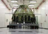 The Orion pressure shell being tested at NASA's Kennedy Space Center (Credits: NASA/Ben Smegelsky).