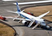 All Nippon Airways flight 692 in Takamatsu after smoke in the cockpit forced an emergency landing. 137 passengers were evacuated, 5 of whom were injured in the process (Credits: Reuters).