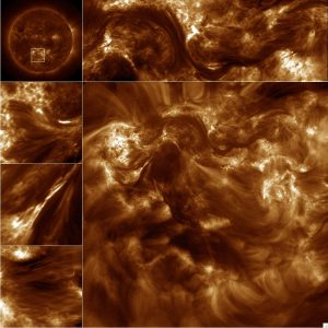 The Hi-C imager targeted the region of the Sun shown in the top left image from SDO. The border images are subsets of the large image recorded by Hi-C and show the filament-like nature of the observed region (Credits: Amy Winebarger/NASA).