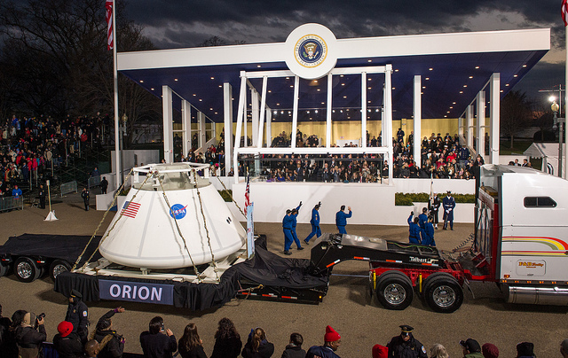 Orion being towed past the Presidential Pavilion (Credits: NASA).