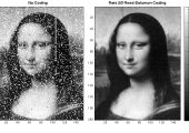 Laser-transmitted image of the Mona Lisa before and after digital clean-up (Credits: NASA).
