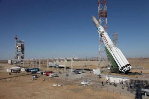 Proton-M is lifted into position at Baikonur (Credits: Roscosmos).