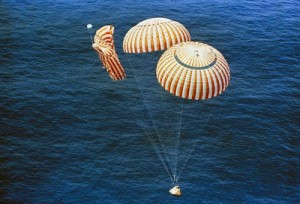 When a parachute fails: Apollo 15 splashes down on two chutes (Credits: NASA).
