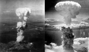 The explosion of an atomic bomb over Hirosima (left) and Nagasaki (right)