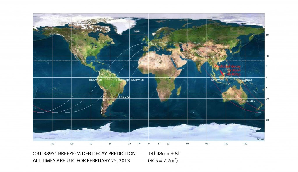 Breeze-M debris decay map