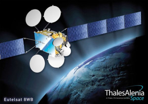 Artistic rendition of the EUTELSAT 8 West B satellite, courtesy of Thales Group