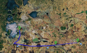 This Google Map image shows the expected landing sites of individual fragments of the Russian meteorite as calculated by astronomer pavel Spurny and his collegues. B is the town of Chebarkul where the biggest fragment has landed, A is the village of Travniki and Shchapino (Credits: Google Maps).