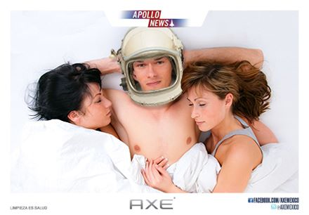 Axe ad amle astronaut in bed with women