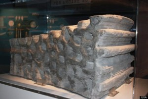 This 1.5 ton building block was produced as a demonstration of 3D printing techniques using simulated lunar soil (Credits: ESA).