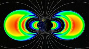 Visualization using actual data from the Relativistic Electron-Proton Telescopes (REPT) on NASA's Van Allen Probes shows three radiation belts, in orange (Credits: NASA).