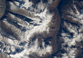 A photograph taken of the Himalayas in Bhutan by ISS Expedition 33 (Credits: NASA).