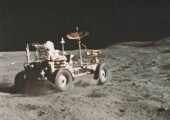 John Young speeds off at 6.2 mph during Apollo 16