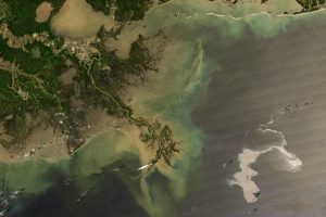 The 2010 Deepwater Horizon oil slick as seen from space (Credits: NASA).