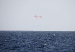 Dragon plunks down in the Pacific Ocean on March 26 after successful completion of CRS-2 (Credits: Space X).