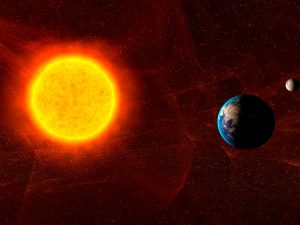 Space weahter is caused by interaction of particles and radiation coming from the Sun with Earth's enviroment (Credits: Eurocontrol).
