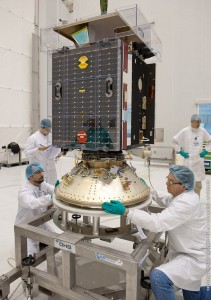 """Proba-V is readied to be integrated in the payload """"stack"""" for Vega's second launch from the Spaceport in French Guiana, which also will orbit the VNREDSat-1 and the ESTCube-1 satellites (Credits: Arianespace)."""
