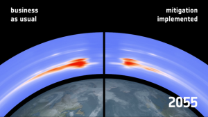 Future debris density in polar orbits with and without active debris removal (Credits: ESA).