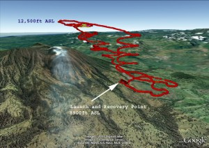 The study launched 10 flights between March 11-14, 2013, into the volcanic plume and along the rim of the Turrialba summit crater approx. 10,500 feet above sea level (Credits: Google).