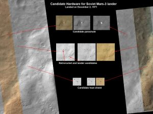 HiRISE images, showing possible debris from the Mars 3 lander (Credits: Credit: NASA/JPL-Caltech/Univ. of Arizona.)