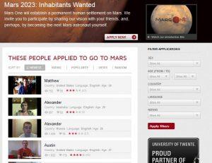 MarsOne Astronauts Selection Webpage.